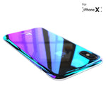 Phone Case for iPhone X Luxury Blue Fashion Mobile Accessories Gradient Hard Case