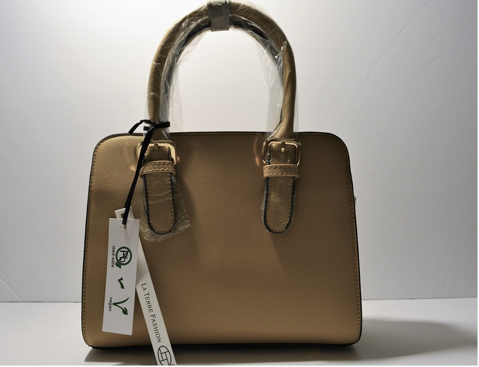 Vegan Beige Luxury Crossbody Satchel Lead Safe Hand Bag Environment Friendly Peta Approved Handbag