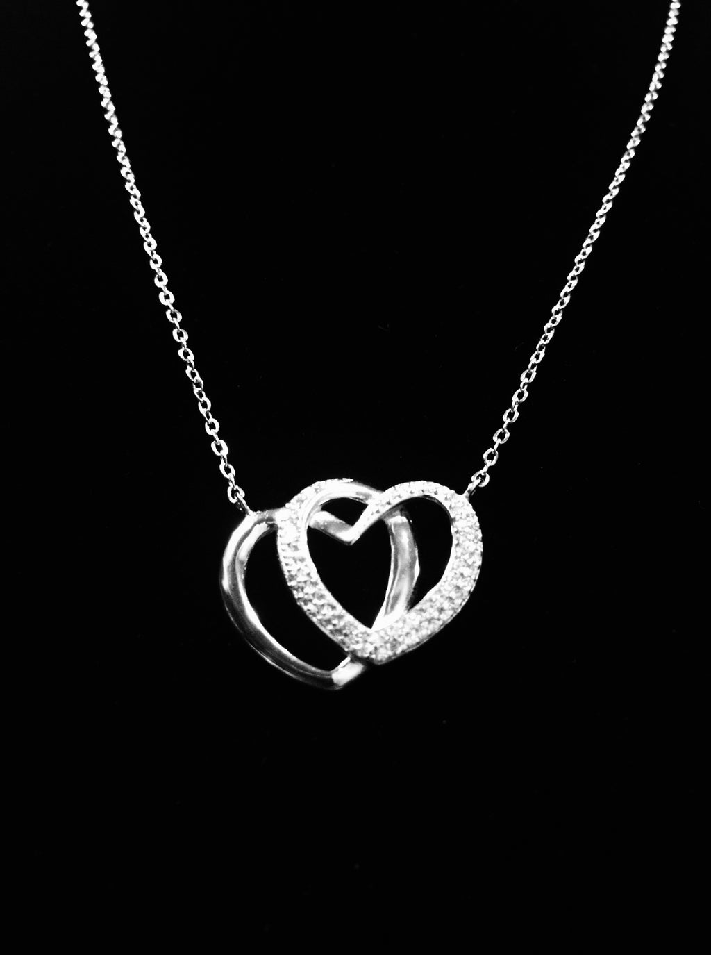 Sterling Silver 925 Double Heart Necklace Valentines Day Special
