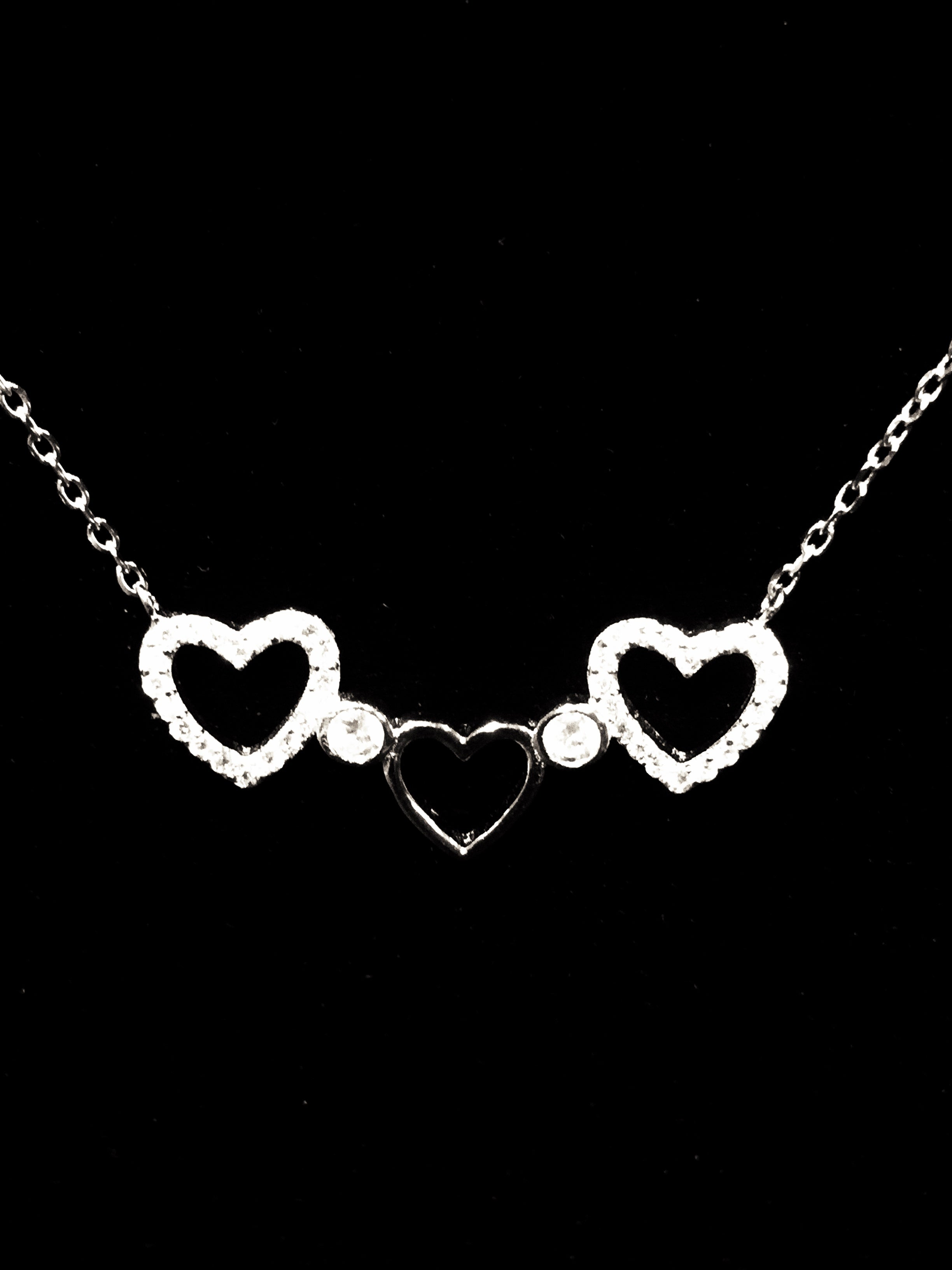 Sterling Silver 925 Hearts Necklace Valentine's Day Special
