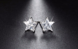 Pure 925 Sterling Silver Earrings 0.8ct Cubic Zircon Star Stud Earring for Women Wedding Party New Jewelry