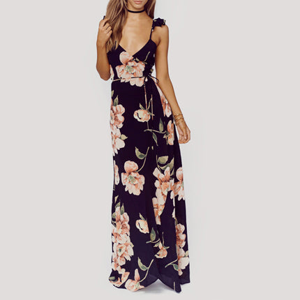 Floral Print Dress Women Backless Split Maxi Dress Deep V-neck Sexy Bohemian Dresses