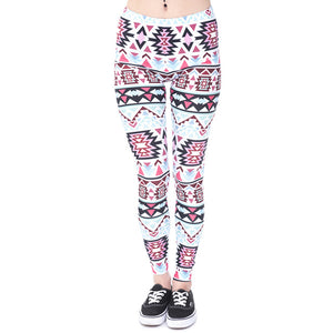 Women Legging Aztec Round Ombre Printing leggins Slim High Waist Yoga Leggings Woman Pants