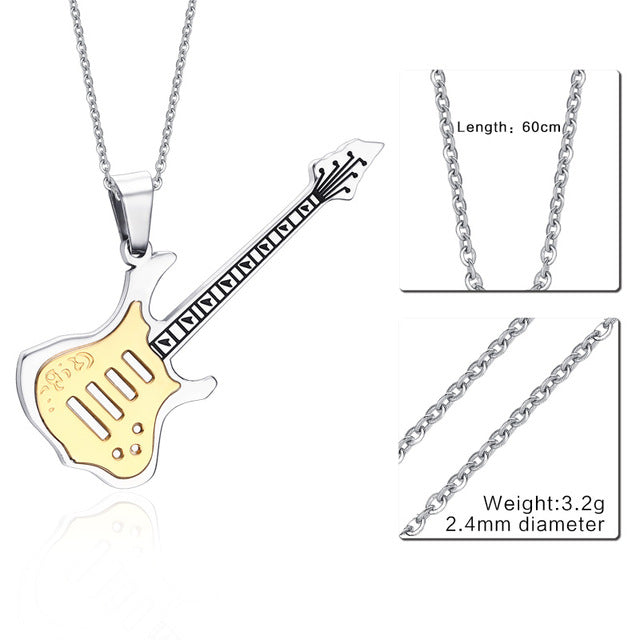 Trendy Guitar Necklace Pendant Free 24inch Chain Stainless Steel Punk Rock Music Jewelry