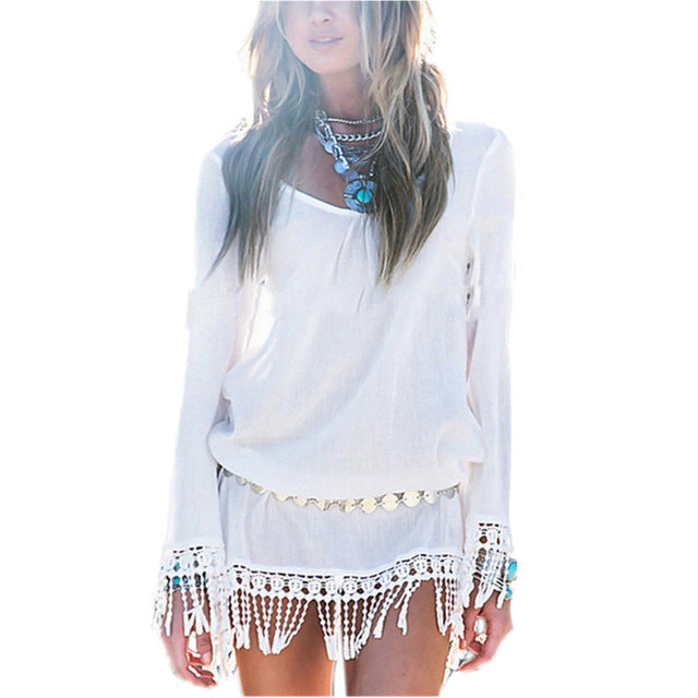 Summer Style Sexy Women Dress O Neck Lace Tassel Chiffon Mini Dresses Casual Loose Short Party Bohemian Beach Robe