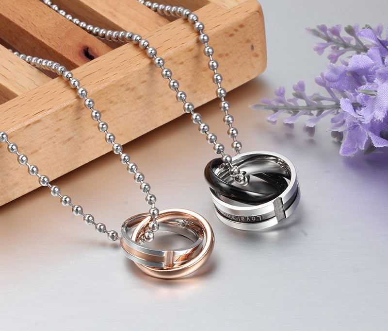 Endless love couple necklace pendant stainless steel double loop couples for wedding christmas jewelry