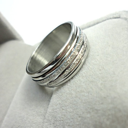 Never Fade Sliver Frosted Rotation Ring Fashion Jewelry For Man Woman Jewelry Stainless Steel Rings Free Shipping LR052