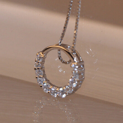 New Shiny Zircon Crystal Circle 925 Sterling Silver Women's Pendant Necklaces Jewelry Gift