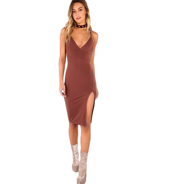 Sexy Bodycon Party Dress Women Brown V Neck Side Split Slim Summer Cami Dresses Fashion Elegant Club Midi Dress