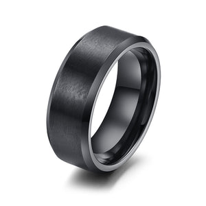 Stainless Steel Men Ring 8mm Black & Silver & Gold-color rings for Men Jewelry