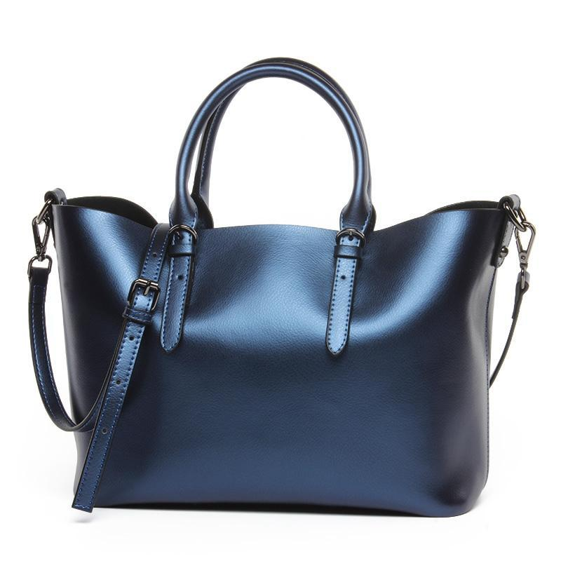 Blue Luxury Glossy 100% Genuine Leather Women Shoulder Crossbody bag