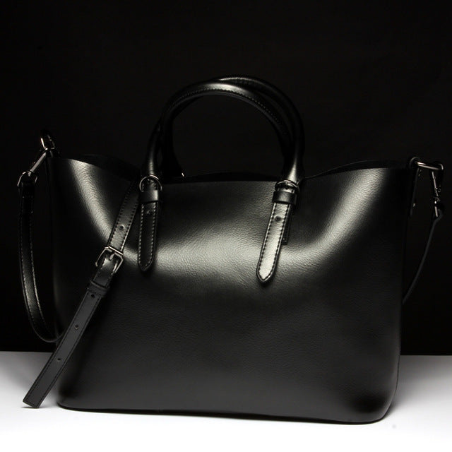 Black Luxury Glossy 100% Genuine Leather Women Shoulder Crossbody bag