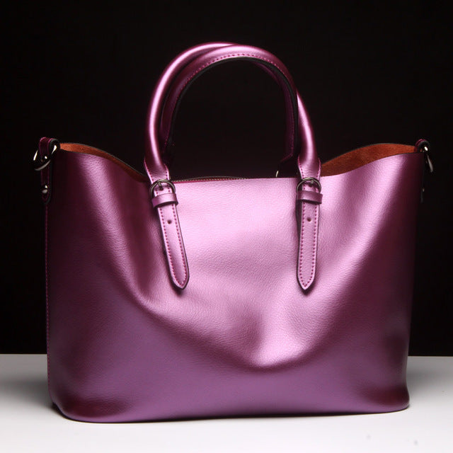 Pink Luxury Glossy 100% Genuine Leather Women Shoulder Crossbody bag