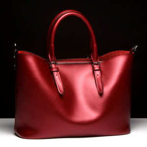 Red Luxury Glossy 100% Genuine Leather Women Shoulder Crossbody bag