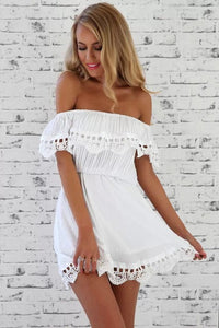 Women Elegant Vintage sweet lace white Dress stylish sexy slash neck casual slim beach Summer Sundress vestidos