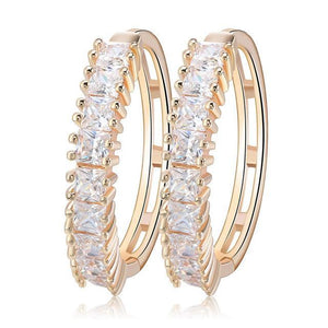 Luxury Big Round Hollow Earrings For Women Crystal From Gold -color Zircon Round Hoop Earrings Jewelry