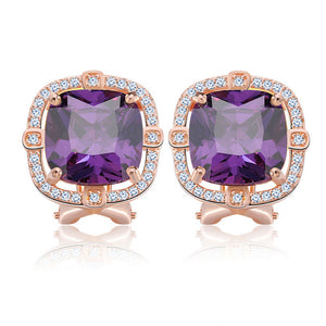 Party Wearing Big Size 4ct Cushion Cut Multi Color CZ Crystal Stud Earrings for Girls Nickel Free Earring