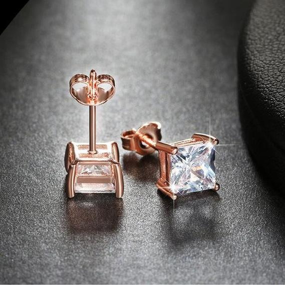 Cute Crystal Earrings Female Male Stud 1ct Multi Color Cushion Cut CZ Jewelry Party Earrings for Women Men