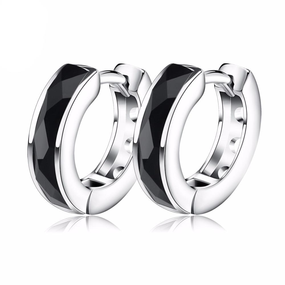 Top Quality Fashion Black Natural Stone Earring Lead & Nickel Free Silver Color Earrings
