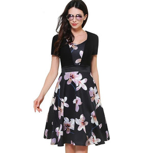 Elegant Flower Print Zipper Sweat-Heart Neck Ball Gown Women Short Sleeve Female Dress