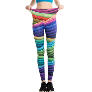 Women Candy Colors Striped Print Leggings Slim Workout High Waist Skinny Ukraine Trousers  Summer Legins Yoga