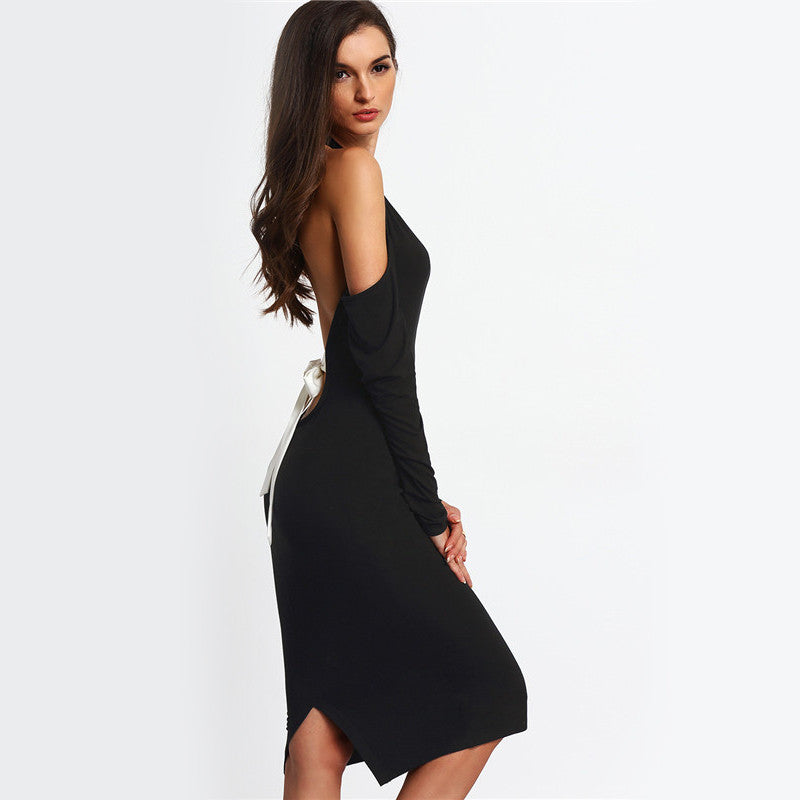Sexy Women Backless Bodycon Pencil Dress Hollow Out Woman New Arrival Black Open Shoulder Long Sleeve Bow Halter Dress