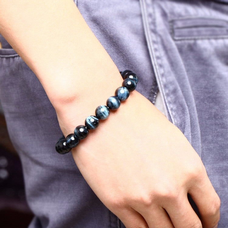 High Quality Blue Tiger Eye Bracelets Natural Stone Round Beads Elasticity Rope Men Women Bracelet