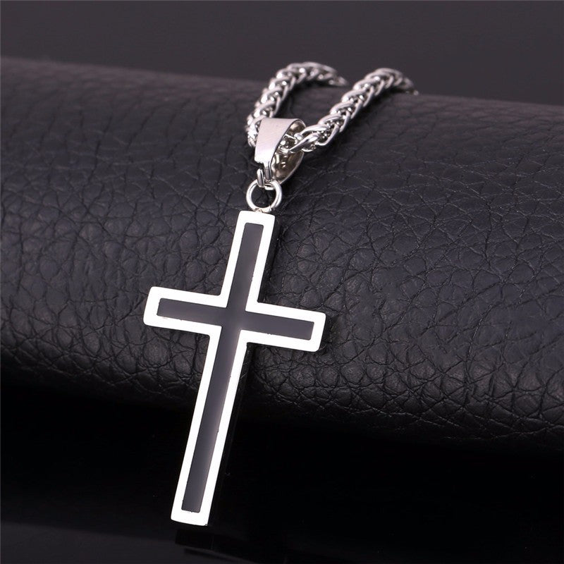 Cross Enamel Pendant Necklace Stainless Steel Black Gold Color For Men/Women Religious Christian Jewelry