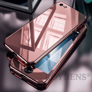 Luxury Mirror 360 Full Protection Case For iPhone 7 Plus Hard PC Plating Cover For iPhone 6 6S 5 5S SE Clear Glass Film