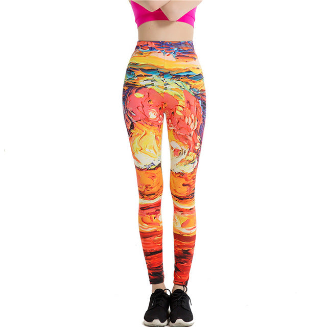 Fitness Stretch Skinny Ankle-Length Slim Yoga Leggings Colors 3D Abstract Print Breathable Pencil Legging