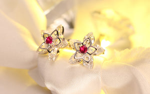 Flower Crystal Stud Earring Paved  Shiny Austrian Cubic Zirconia Trendy Gold-Color Jewelry for Women