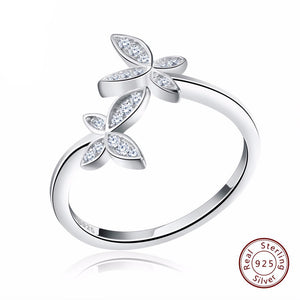 Fashion Silver 925 Adjustable Rings Flower Design Sterling Silver Ring with Austrian Cubic Zirconia for Women
