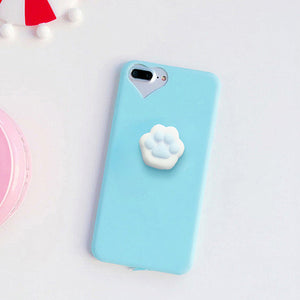 3D Cartoon Cute Squishy Cat Claw Case for iPhone 6 6S 7 Plus Fundas Funny Pressure Release Soft Squishi Squeeze Cats Phone Cases