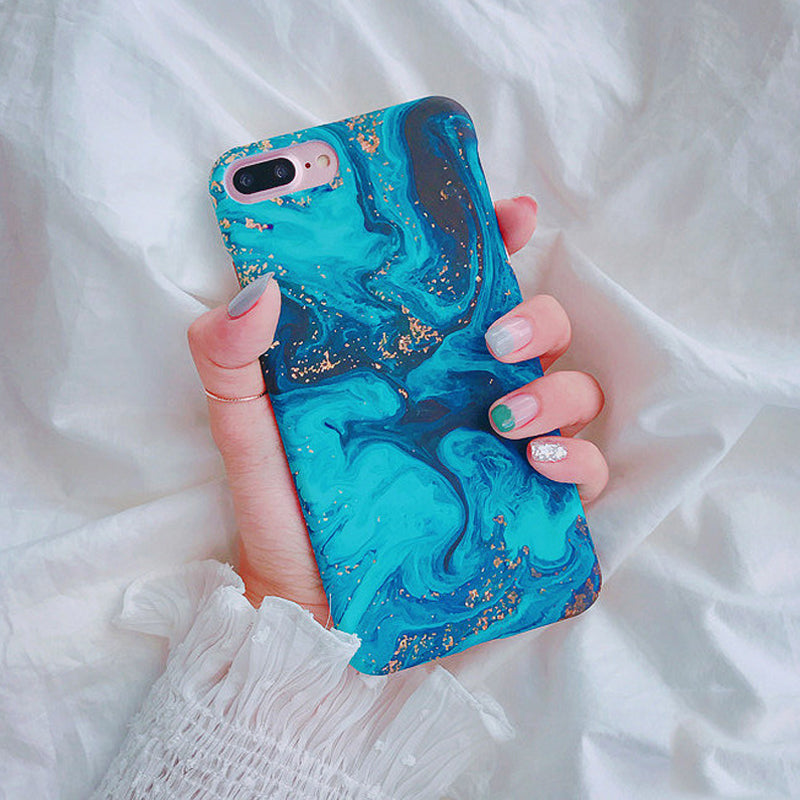Fashion Abysmal Sea Oil Painting Phone Case For iPhone 6 6s 7 8 Plus X Matte Hard Half-wrapped Back Cover Fundas Coque