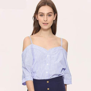 Off Shoulder Blouse Shirt Women SummerTop New Fashion Sweet Slash Neck Tops Stripe Sexy Shirts Ladies Clothing