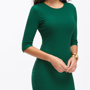 Summer Style Women Bodycon Dresses New Arrival Casual Green Crew Neck Half Sleeve Midi Dress