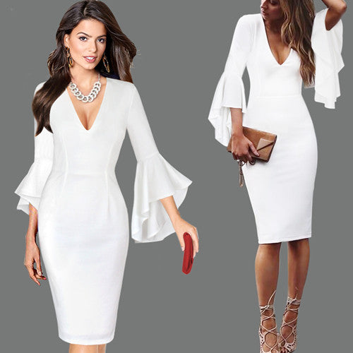 Womens Sexy Deep V-neck Flare Bell Long Sleeves Elegant Work Business Casual Party Slim Sheath Bodycon Pencil Dress