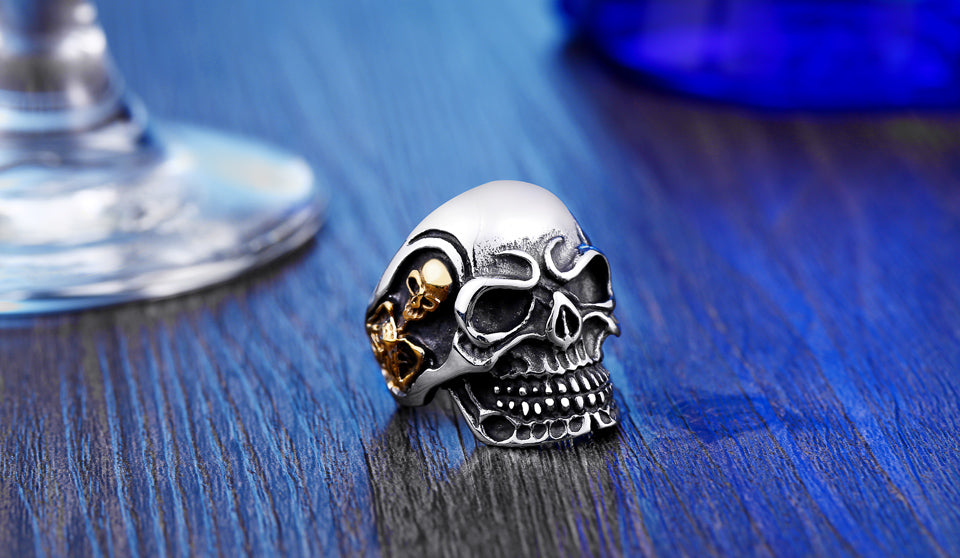 Fashion Ring Stainless Steel Rings For Man Big Tripple Skull Ring Punk Biker Jewelry