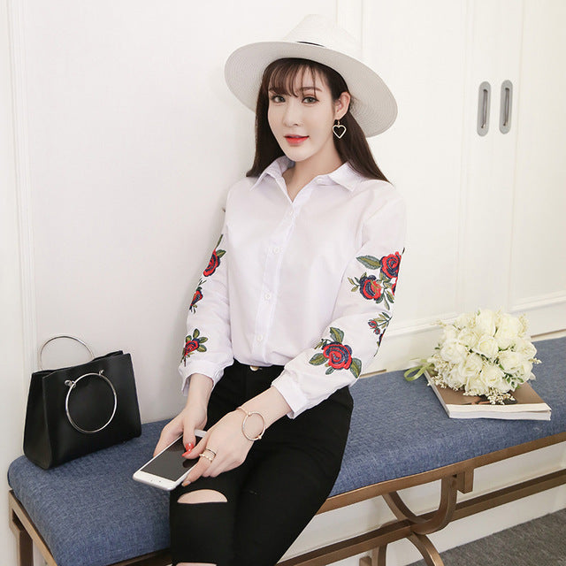 Summer Blouse Fashion Shirt Rose Printing White Women Tops Long