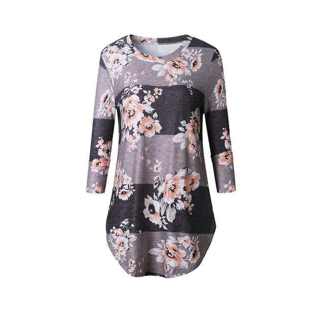 Fashion Casual Long Sleeve Printed Floral Flower T Shirt Women Top Tees Summer Autumn T-Shirt Femme Ladies Tshirt Clothes