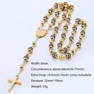 Men Women Chain Bead Rosary Cross Pendant Necklace Stainless Steel Gold Black Silver Christ