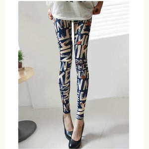 Fashion Design Leggins Women Grid Leggings Floral Patterned Letter Print Leggins Female Cross Skull Stripe Leggings