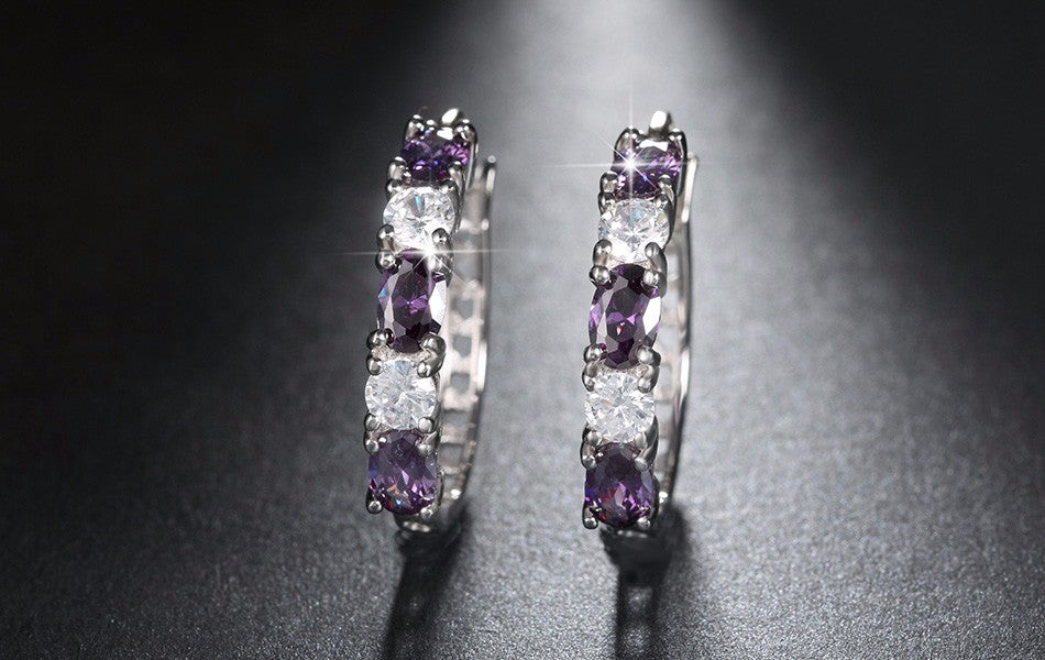 New Silver Color Hoop Earrings Round-Shape with 1.8ct Purple Mixed Clear CZ Lead&Nickel Free Earrings