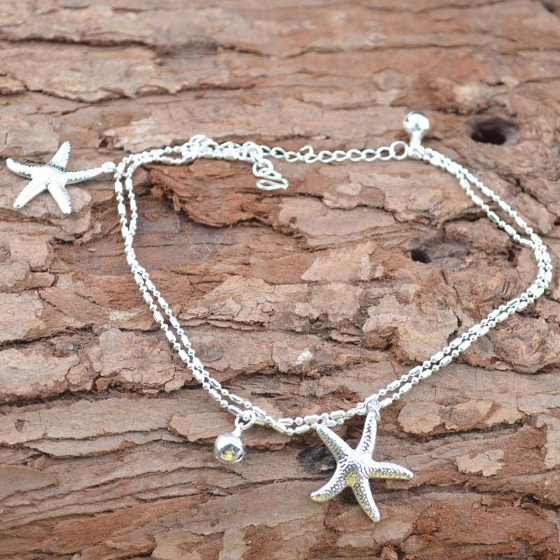 1pcs Silver Color Starfish Chain Anklets Women Jewelry Beach Foot Ankle Jewelry barefoot Sandals Bracelets for Woman Anklet