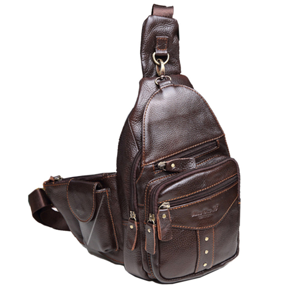 New Men Genuine leather Cowhide Travel Studded Messenger Shoulder Sling Day Pack Chest Tivets Bag