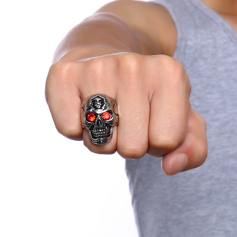 Skull Ring Hiphop Stainless Steel Skeleton Rings for Men Jewelry with Red Stone Halloween Undead Decorations