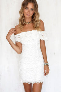 Sexy Women Mini Dress Off Shoulder Sexy Lace Embroidery Bodycon  Dresses Summer Beach Party White Casual Dress vestido