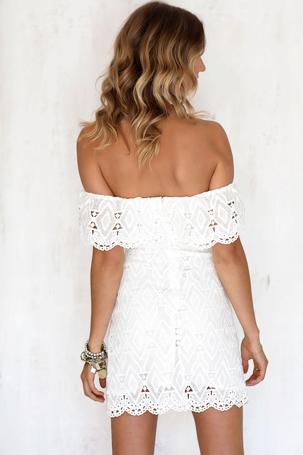 white beach lace summer dress