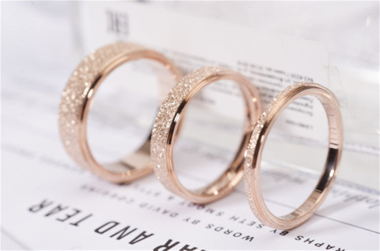 Rose Gold Color Frosted Finger Ring for Woman Wedding Jewelry 316L Stainless Steel Top Quality Never Fade Size 3-10