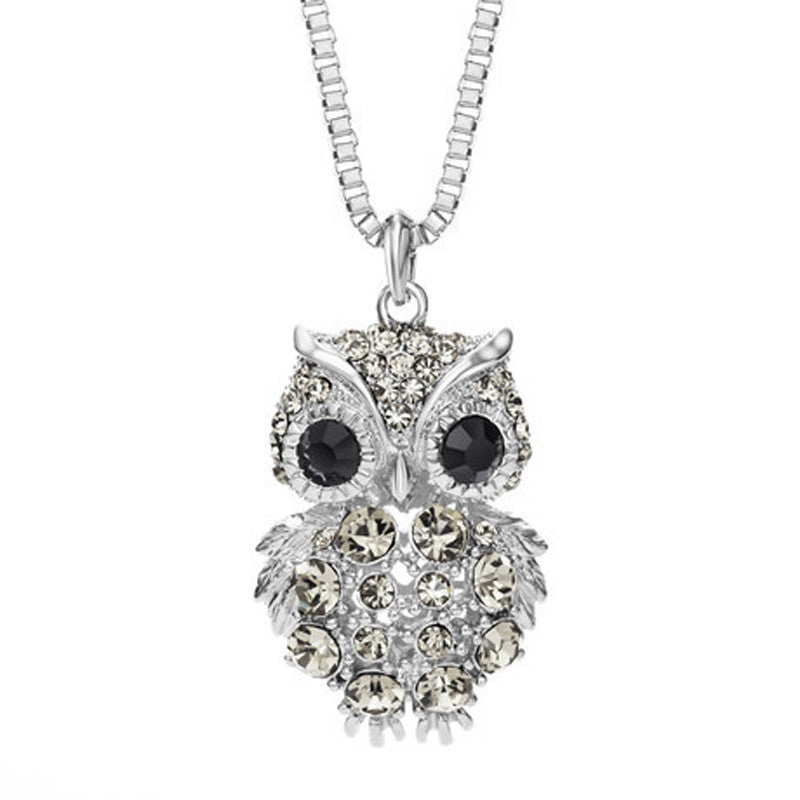 Retro Antique Alloy with Rhinestone Crystal Owl Long Necklace GD